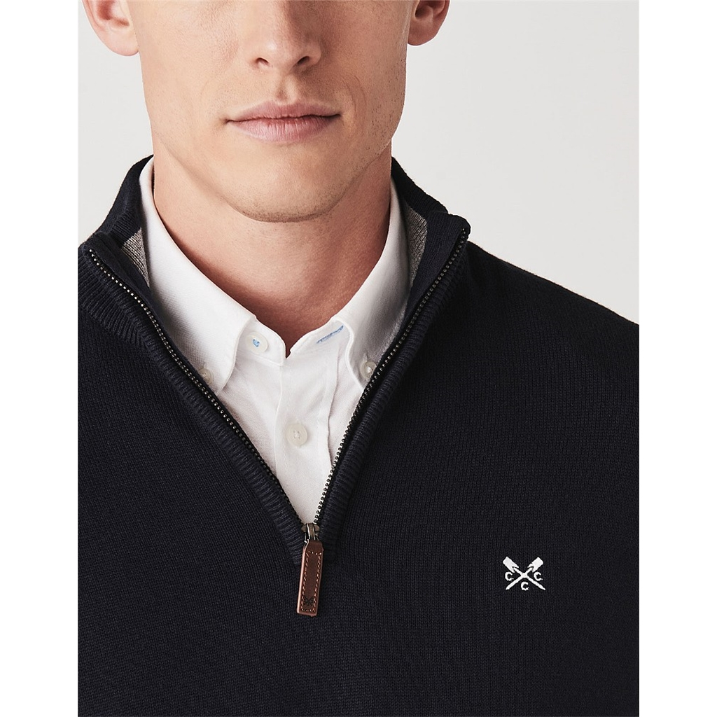 Crew Men's Classic Half Zip Knit Jumper - Dark Navy