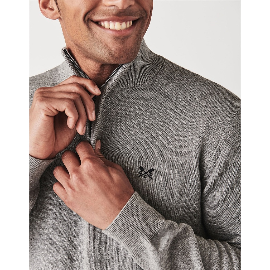 Crew Men's Classic Half Zip Knit Jumper - Grey