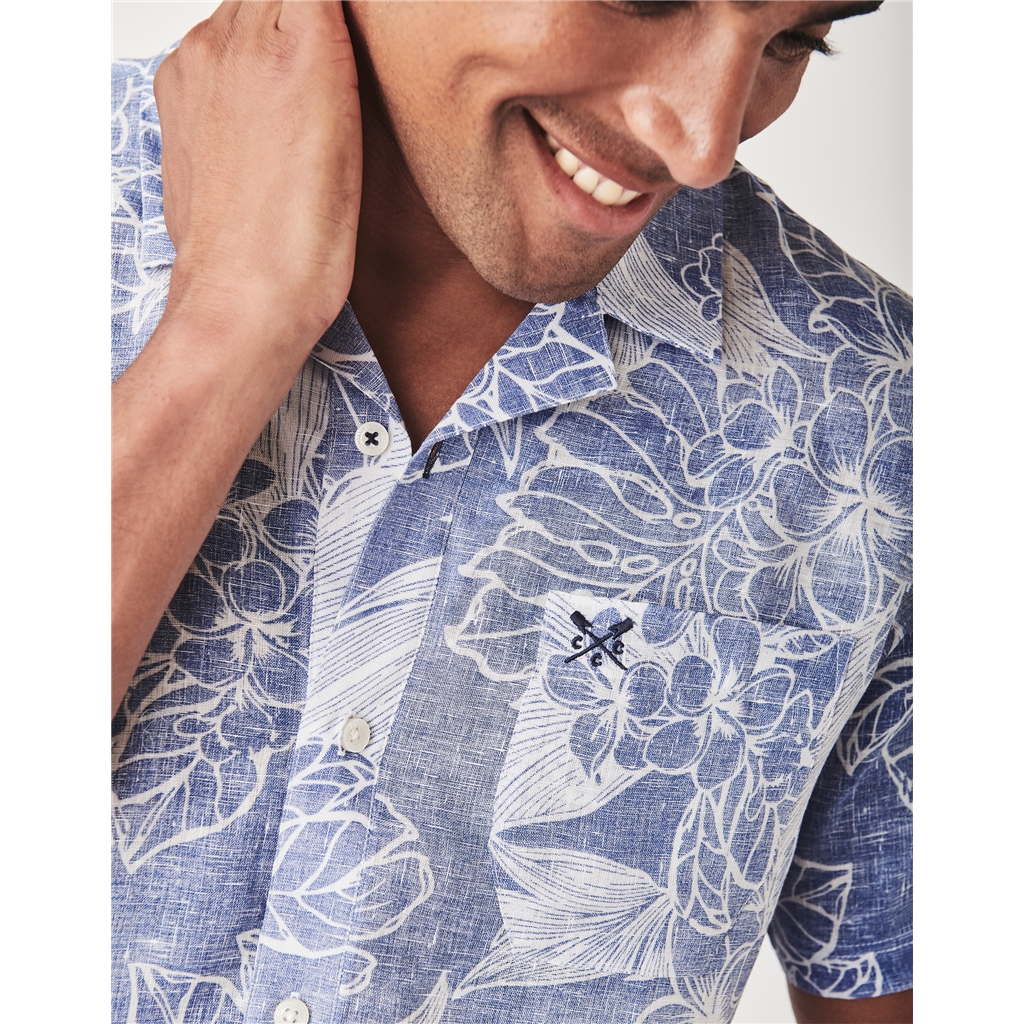 Crew Men's Short Sleeve Linen Tropical Shirt - Blue
