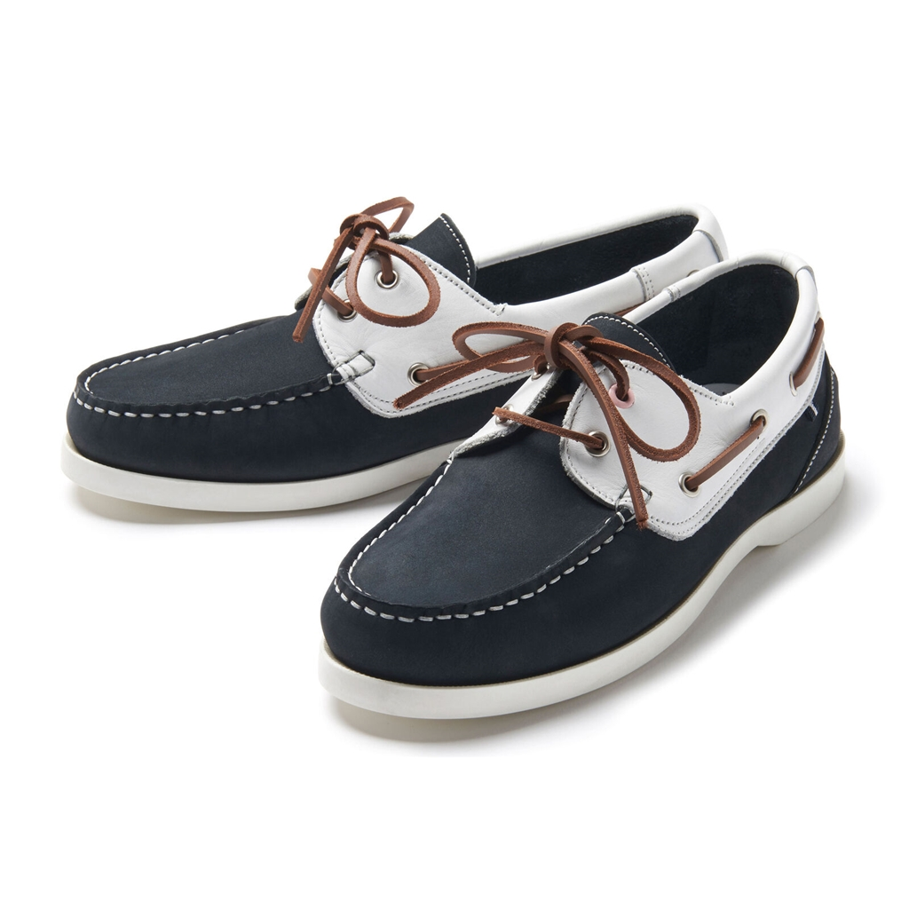 Crew Women's Leather Boat Shoe - Navy/white
