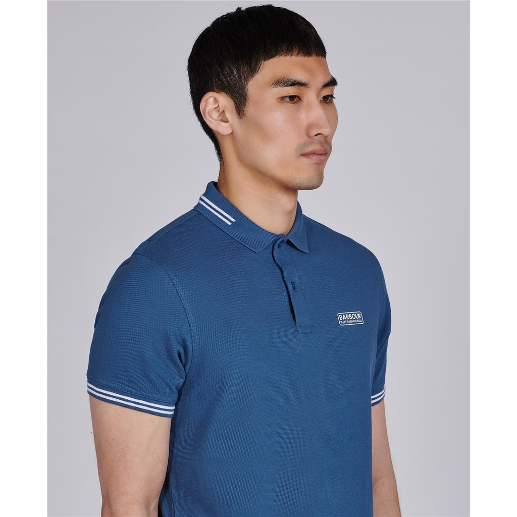 Barbour 2021 Men's International Essential Tipped polo - Mid Blue