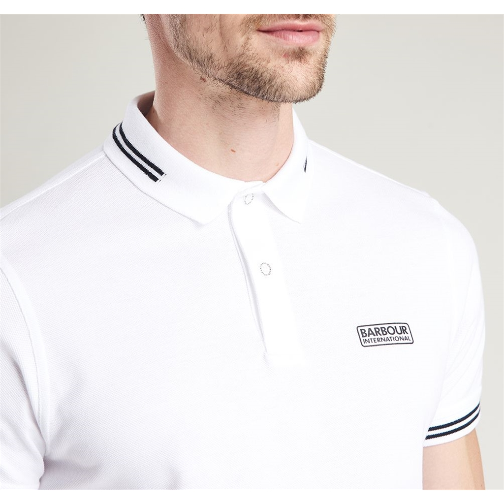 Barbour 2021 Men's International Essential Tipped polo - White