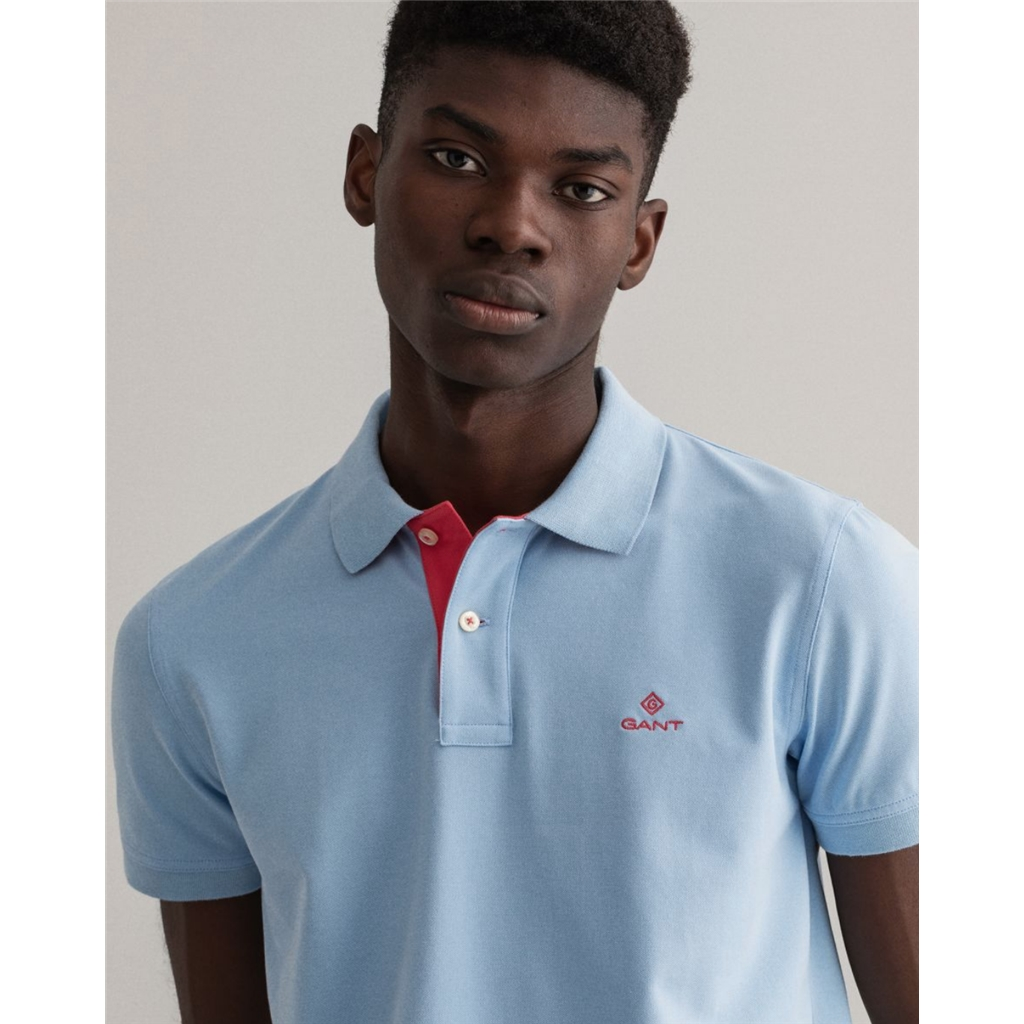 New 2021 Gant Contrast Collar Pique Polo Shirt - Powder Blue