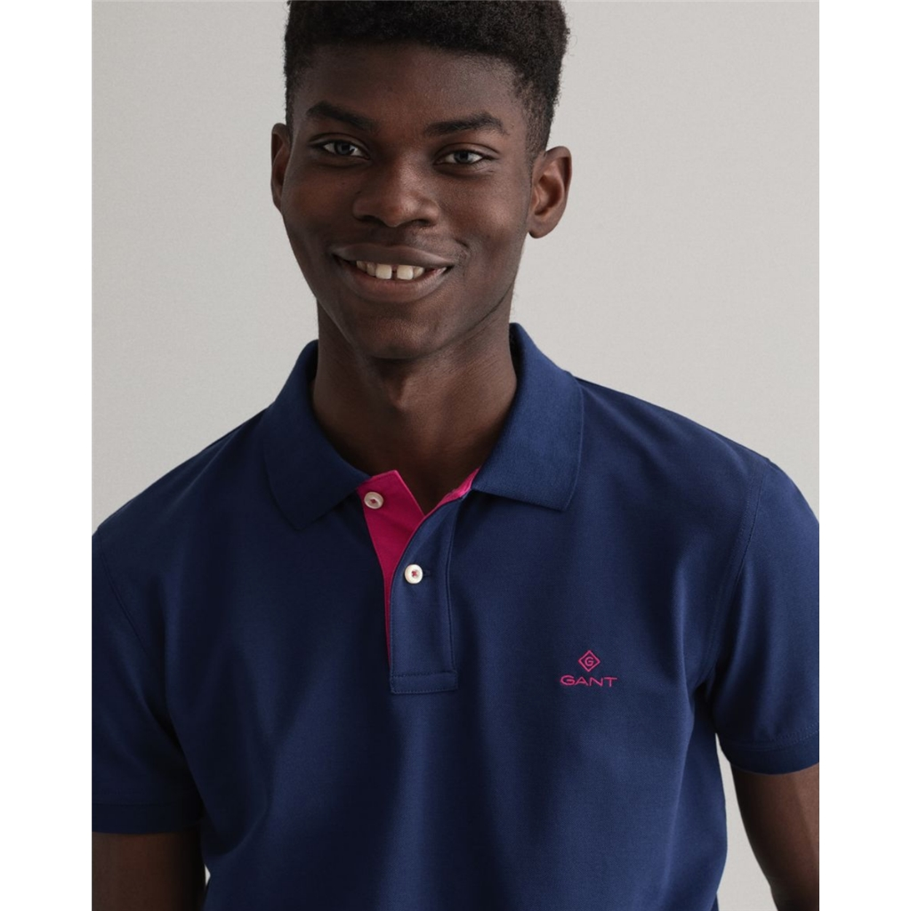 New 2021 Gant Contrast Collar Pique Polo Shirt - Persian Blue
