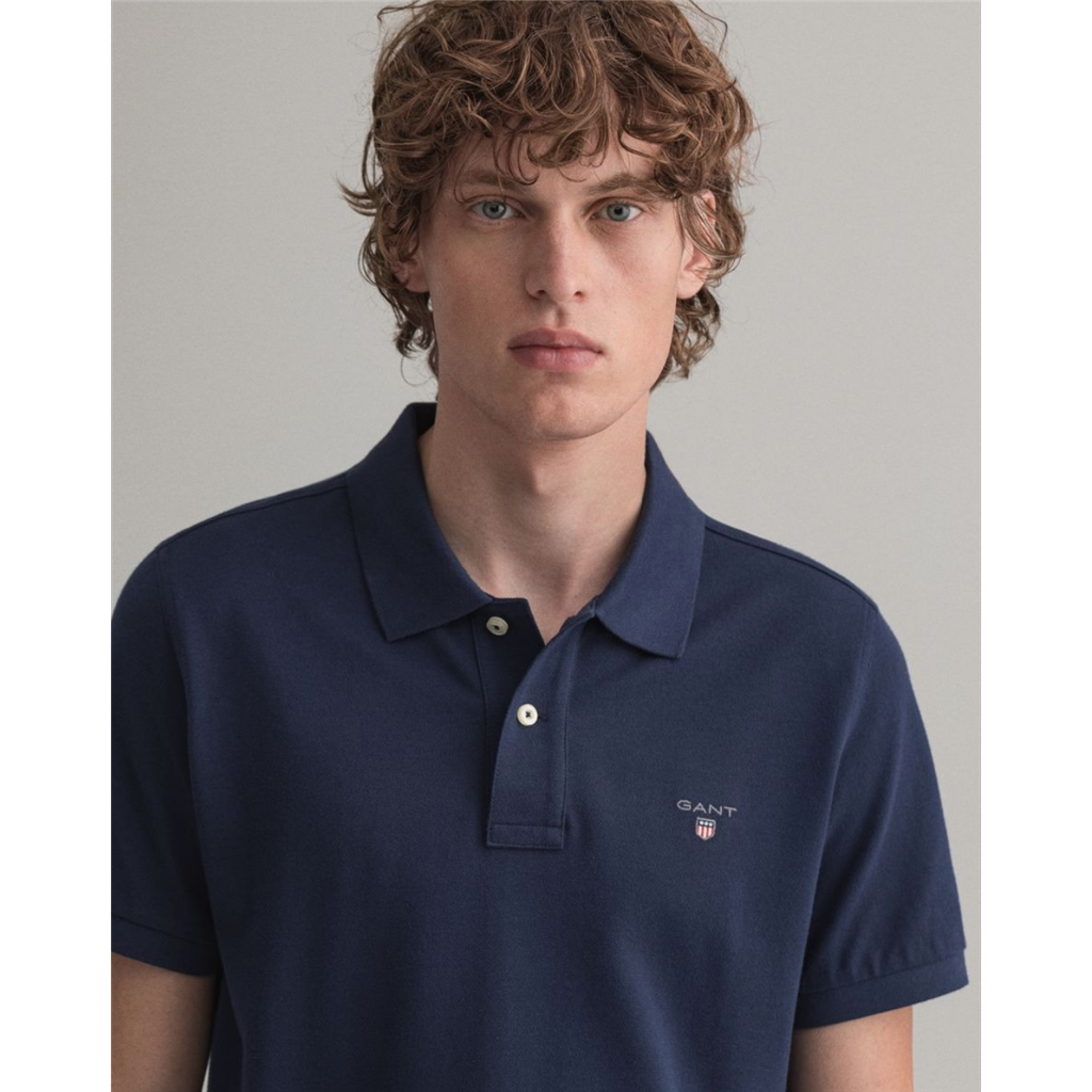 Gant Contrast Original Pique Polo Shirt - Evening Blue