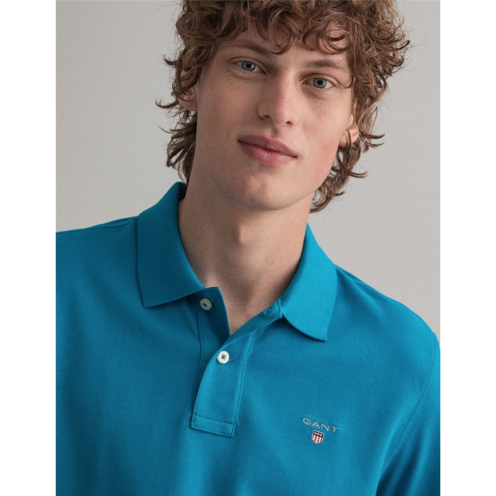 New 2021 Gant Contrast Original Pique Polo Shirt - Dark Teal