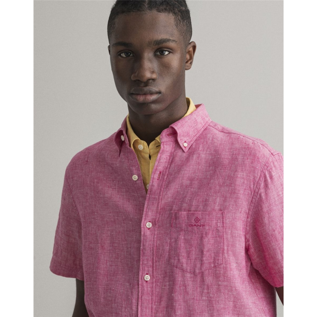 New 2021 Gant Regular Fit Short Sleeve Linen Shirt - Cabaret Pink