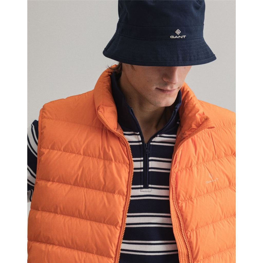 New 2021 Gant Light Down Gilet - Russet Orange