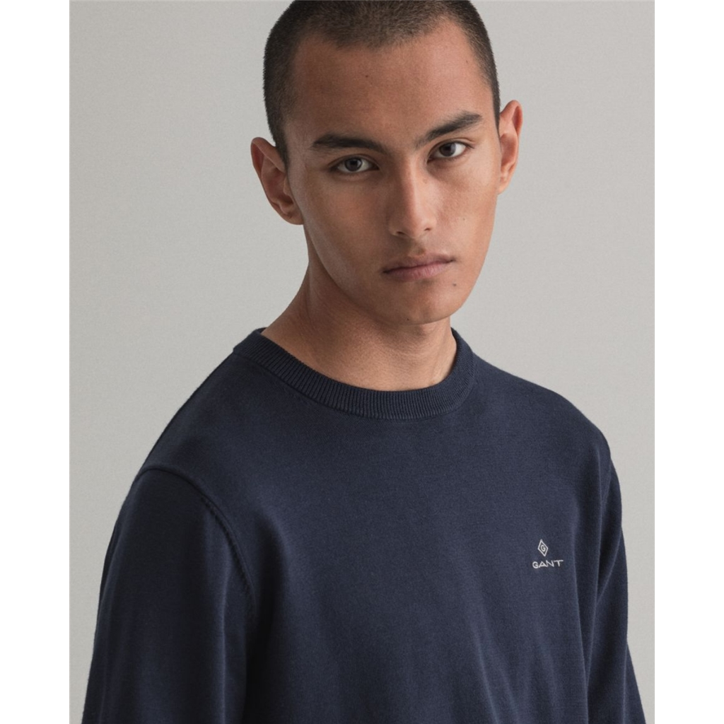 New 2021 Gant Classic Cotton Crew Neck Jumper - Evening Blue