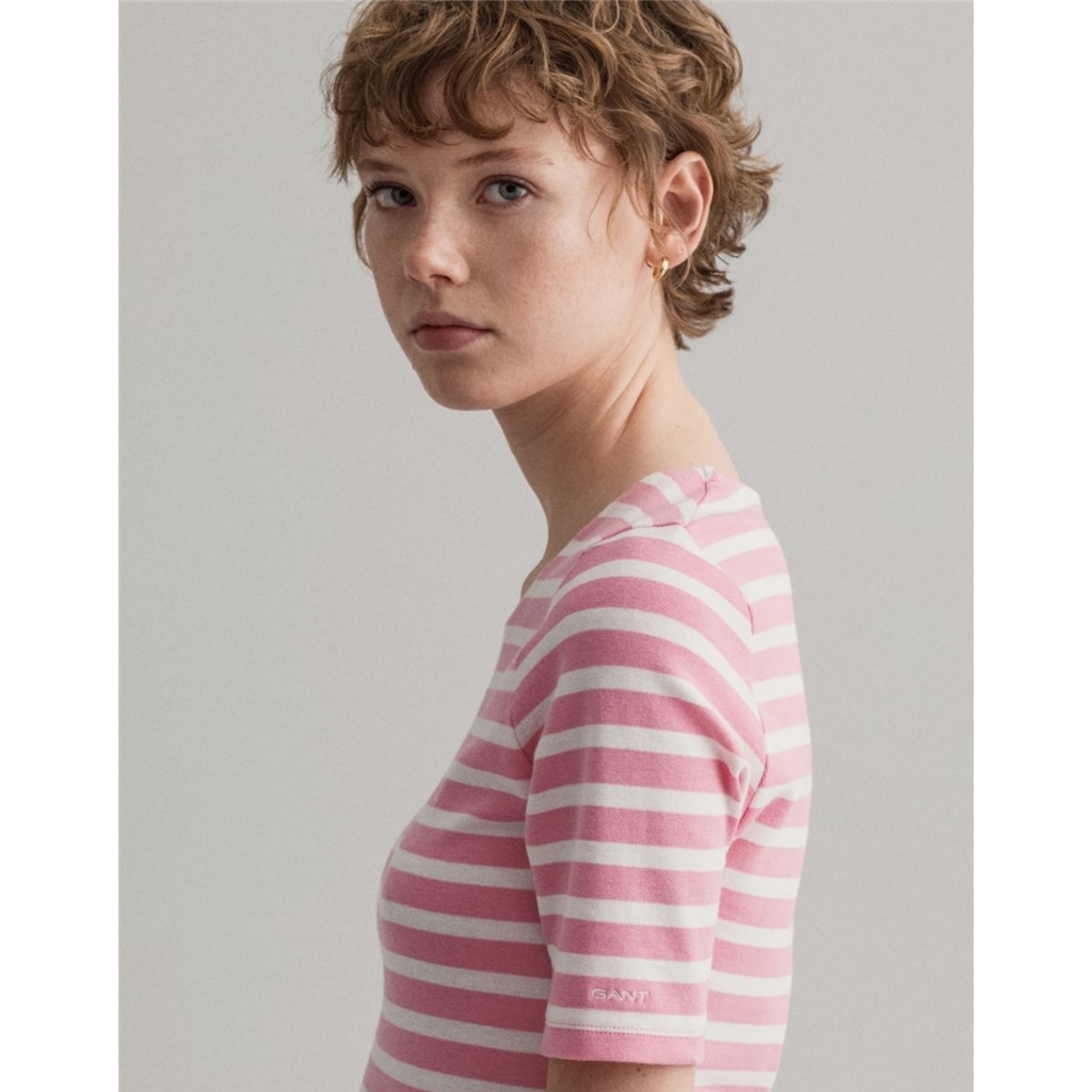 Gant Womens Striped Rib T-shirt - Sea Pink