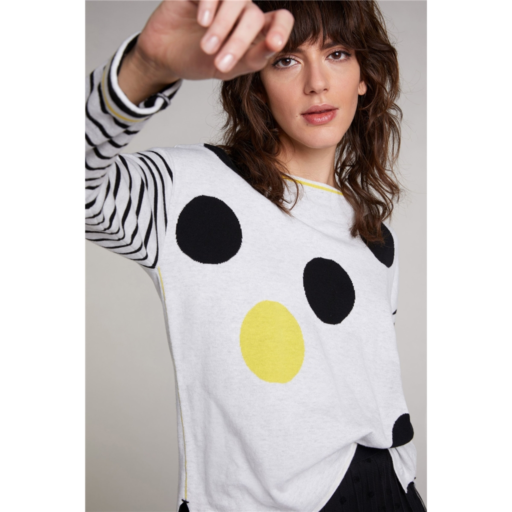 Oui Cotton Polka Dot Sweater - Black/Yellow
