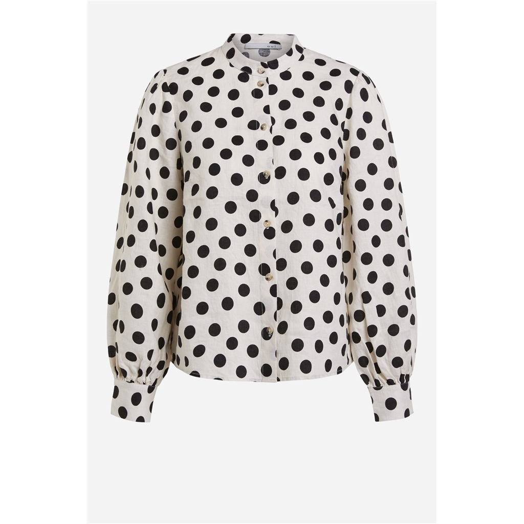 Oui Linen Polka Dot Blouse - Black/White
