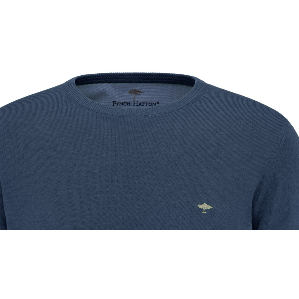 New 2021 Fynch Hatton Superfine 3 Ply Cotton Crew Neck Sweater - Night