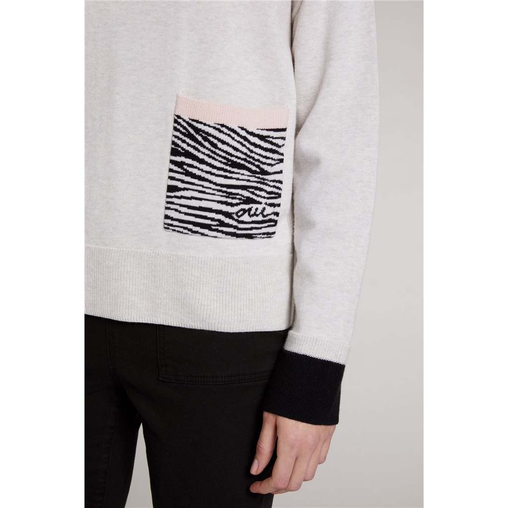 Oui Sweater with Zebra Pocket - White/Black