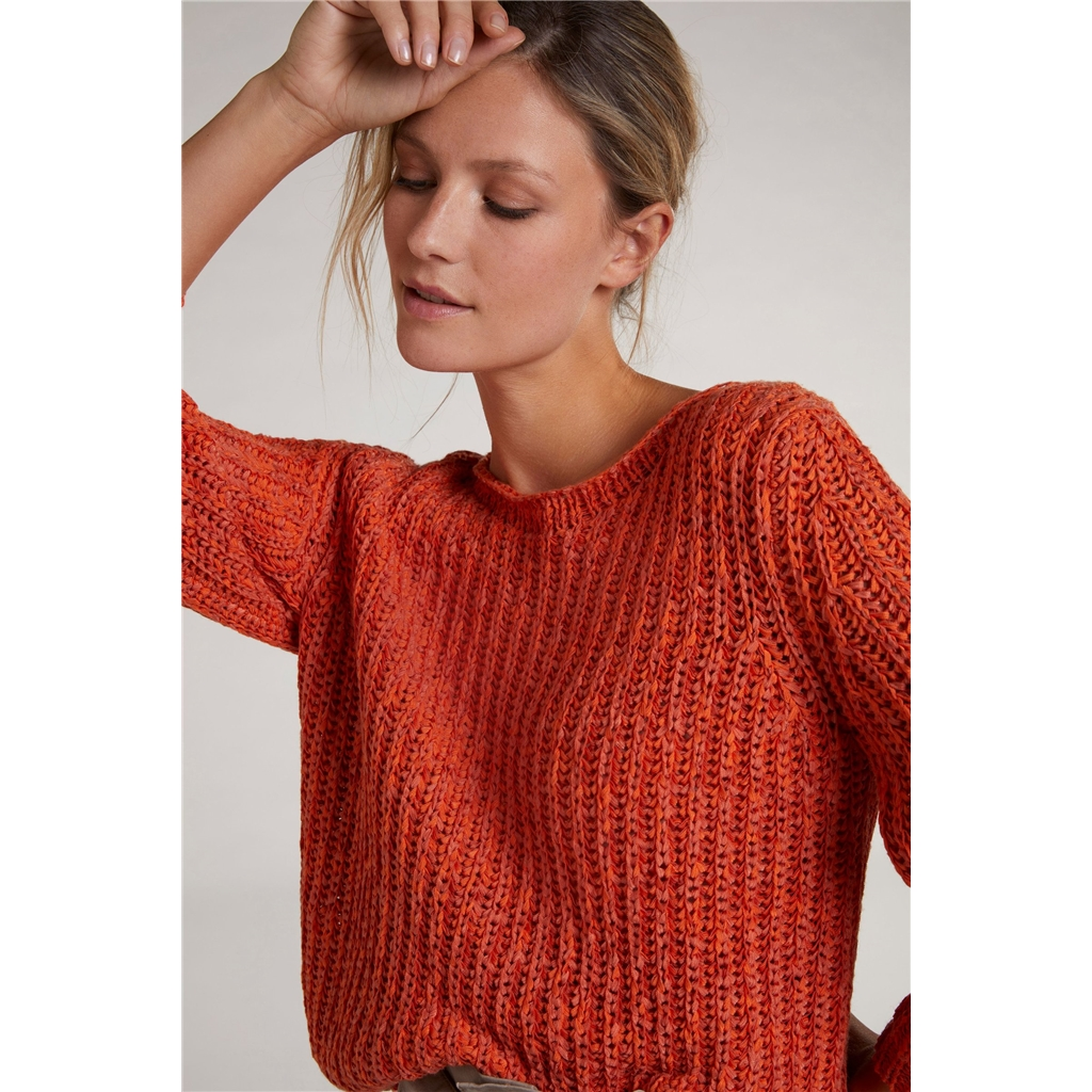 Oui Knitted Sweater in Ribbon Yarn - Rose Orange