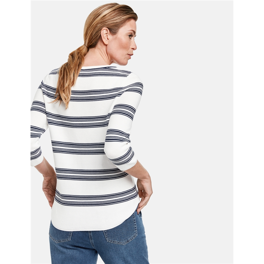 Gerry Weber 3/4 Length Stripe Jumper - White