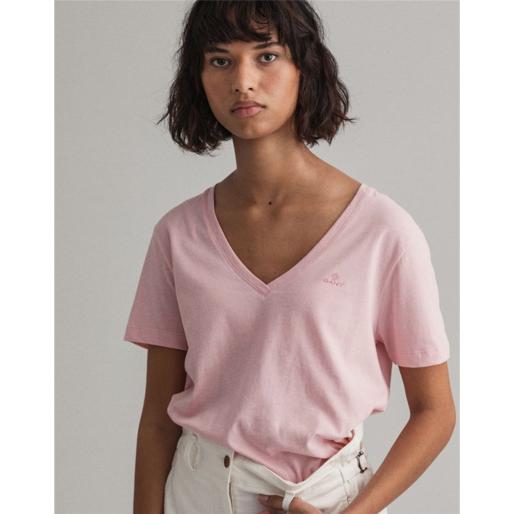 Gant Womens Original V neck Tee - Preppy Pink