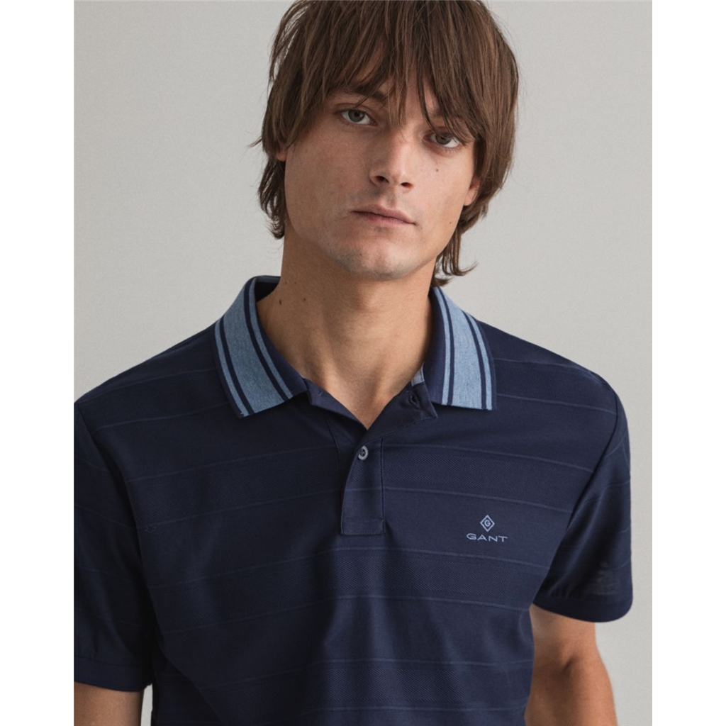 New 2021 Gant Texture Stripe Polo - Classic Blue