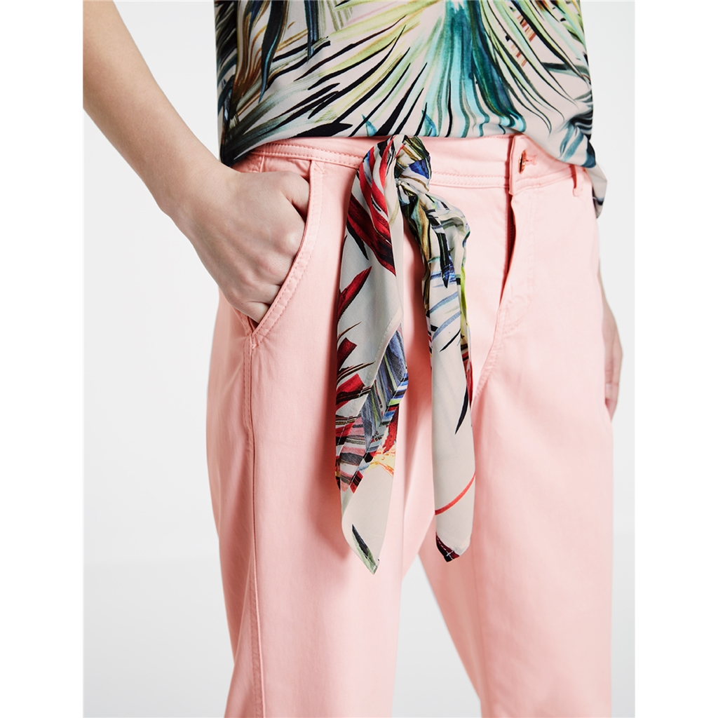 Taifun Chinos With Decorative Scarf - Pink