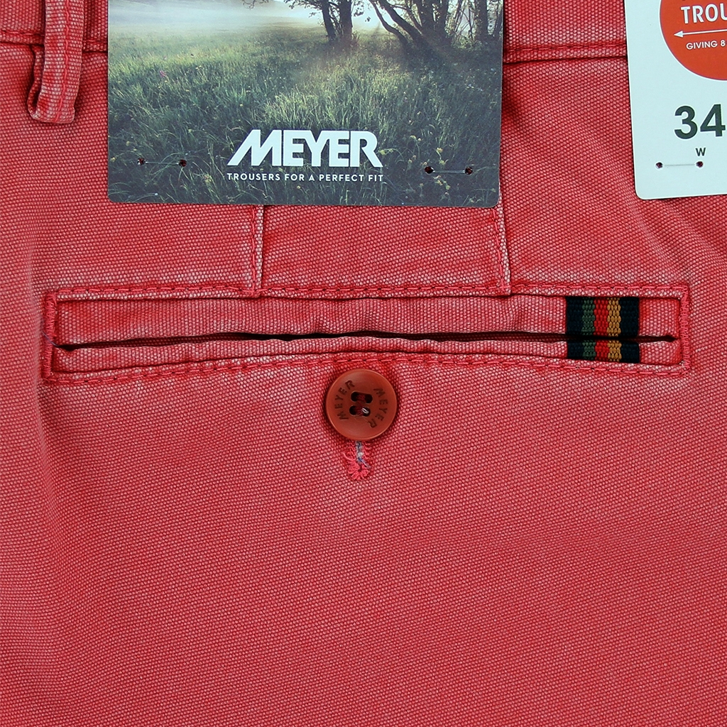 New 2021 Meyer  Soft Cotton Canvas Trouser - Salmon - Oslo 3132 56