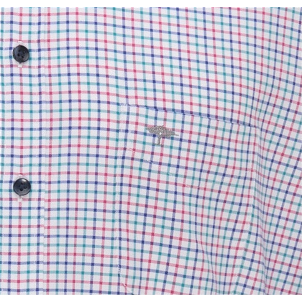 New 2021 Fynch Hatton Soft Compact Cotton Short Sleeve Shirt - Dragonfly Check