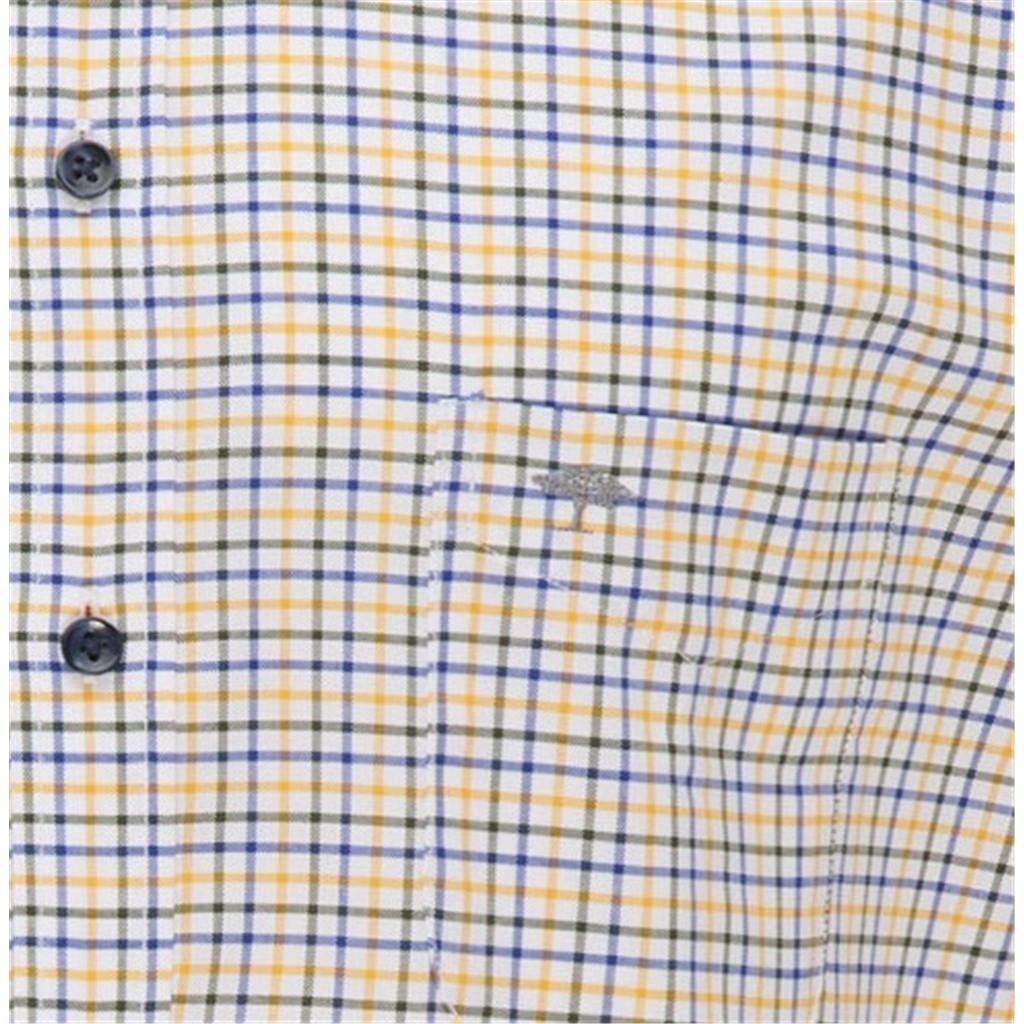 New 2021 Fynch Hatton Soft Compact Cotton Short Sleeve Shirt - Garden Sunlight Check