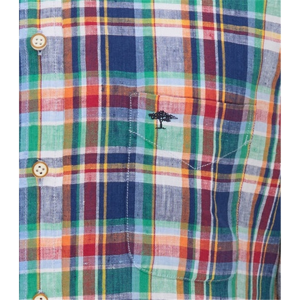 New 2021 Fynch Hatton Supersoft Linen Short Sleeve Shirt - Cactus Madras Check