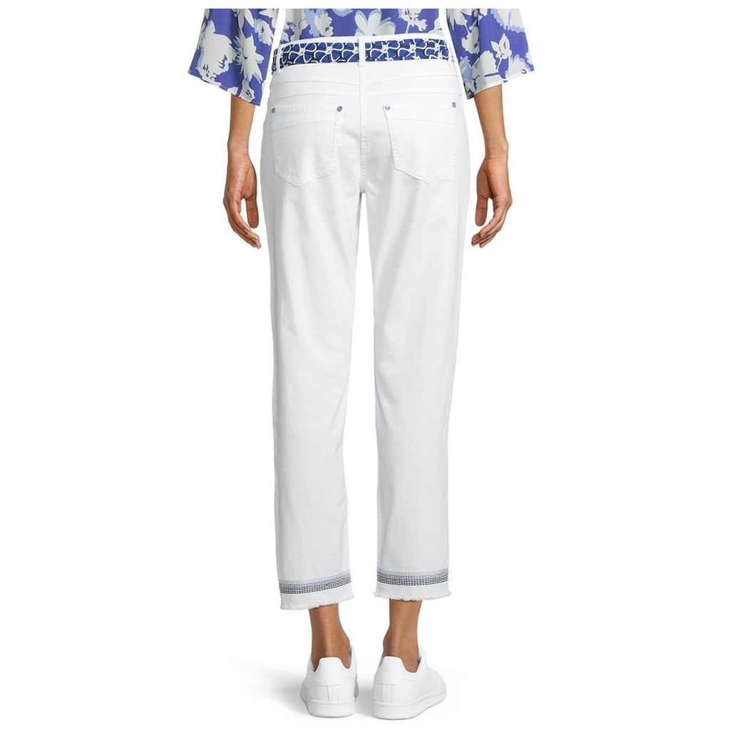 Betty Barclay Embroidered Cuffs Jean - White