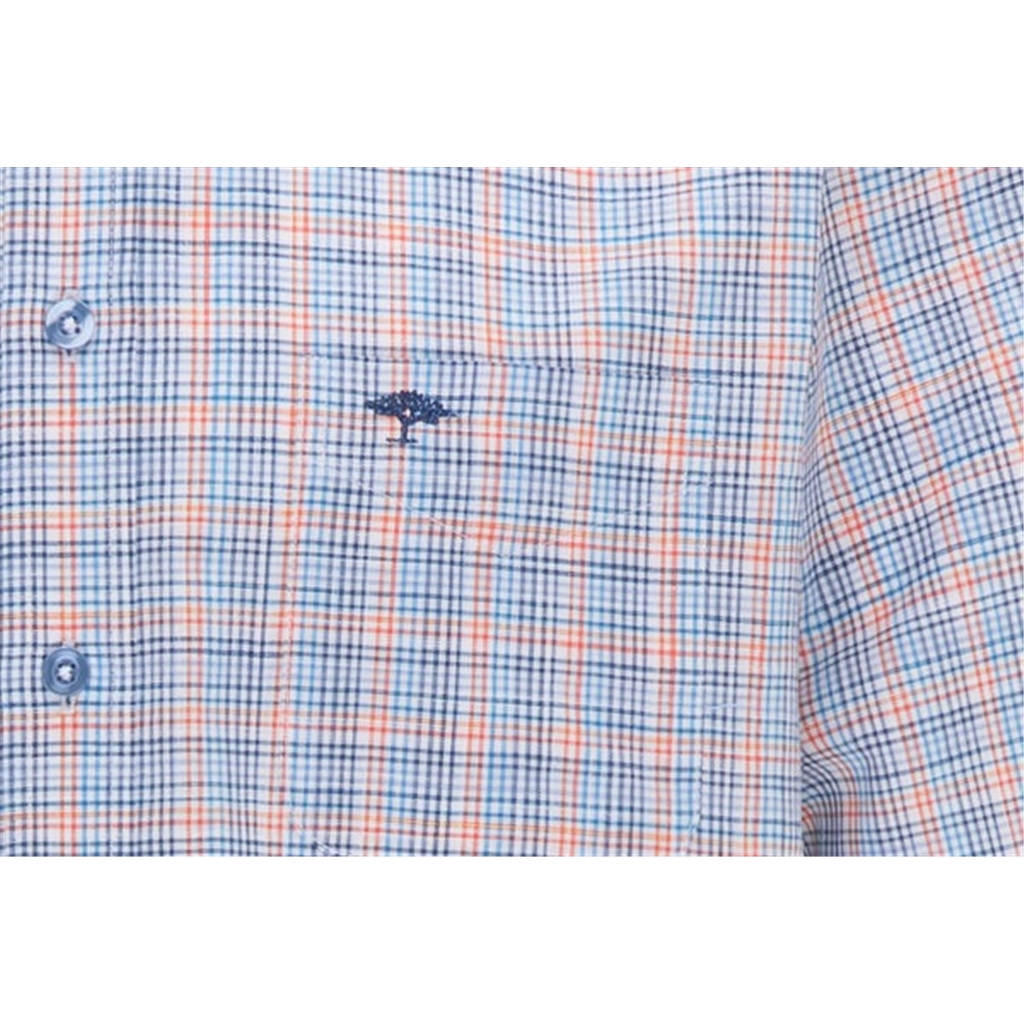New 2021 Fynch Hatton  Supersoft Cotton Short Sleeve Shirt - Small Lava Check
