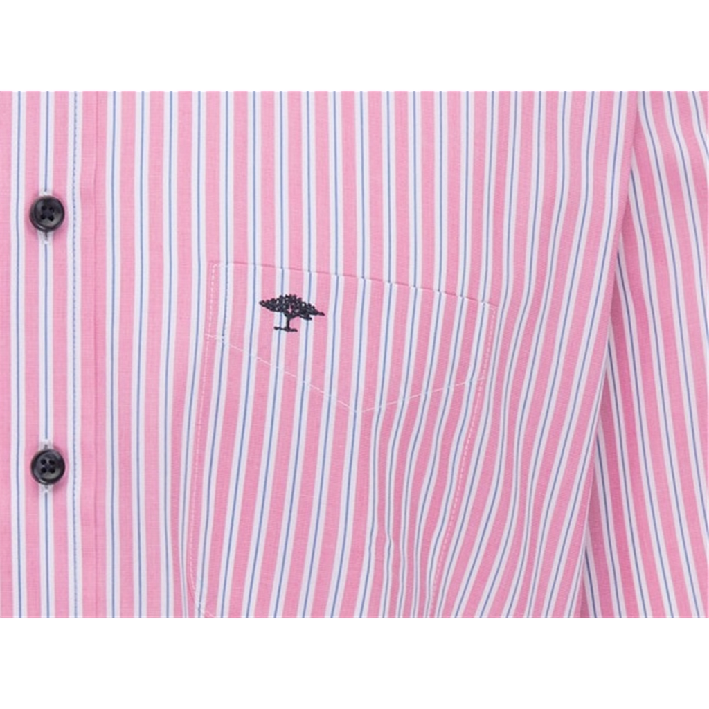 New 2021 Fynch Hatton Soft Touch Cotton Short Sleeve Shirt - Coral Stripe