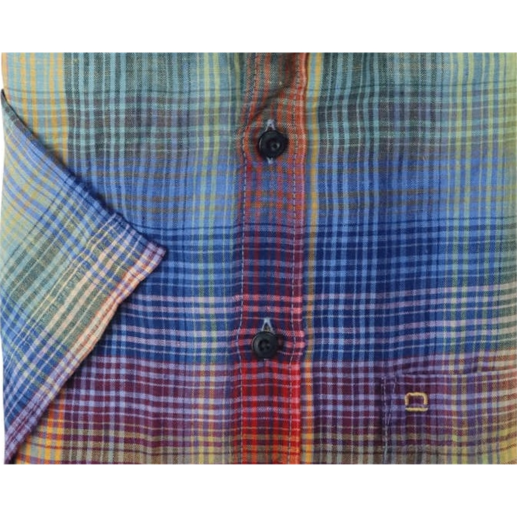 New 2021 Olymp Casual Modern Fit Linen Shirt - Multi Check Design