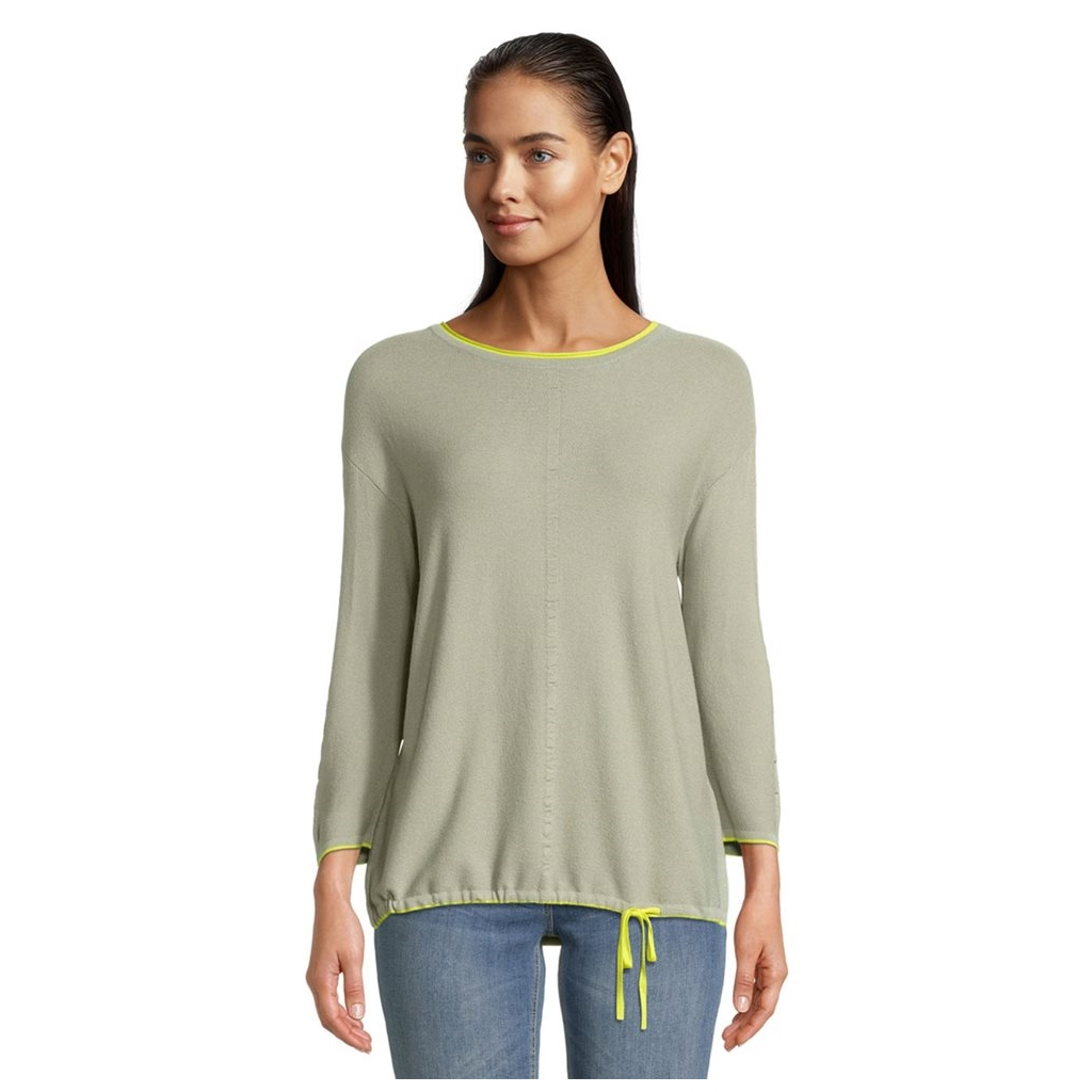 Betty Barclay Jumper With Tie Detail - Khaki