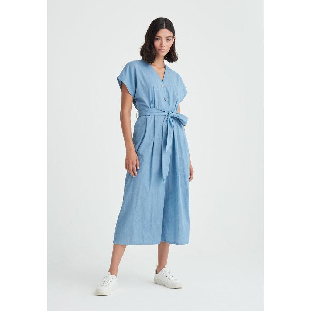 New Paisie Denim Button Jumpsuit - Blue