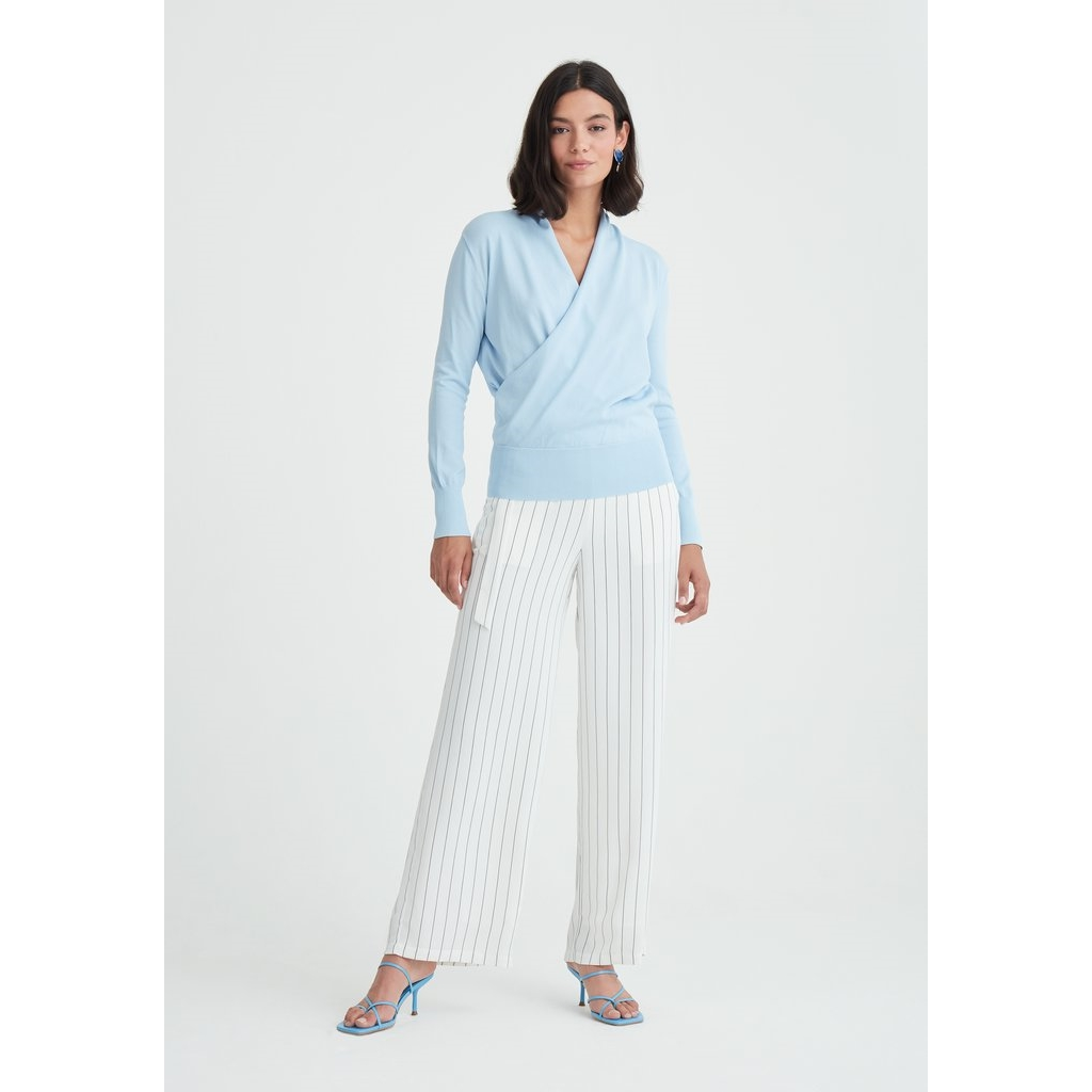 New Paisie Knitted Wrap Top - Light Blue