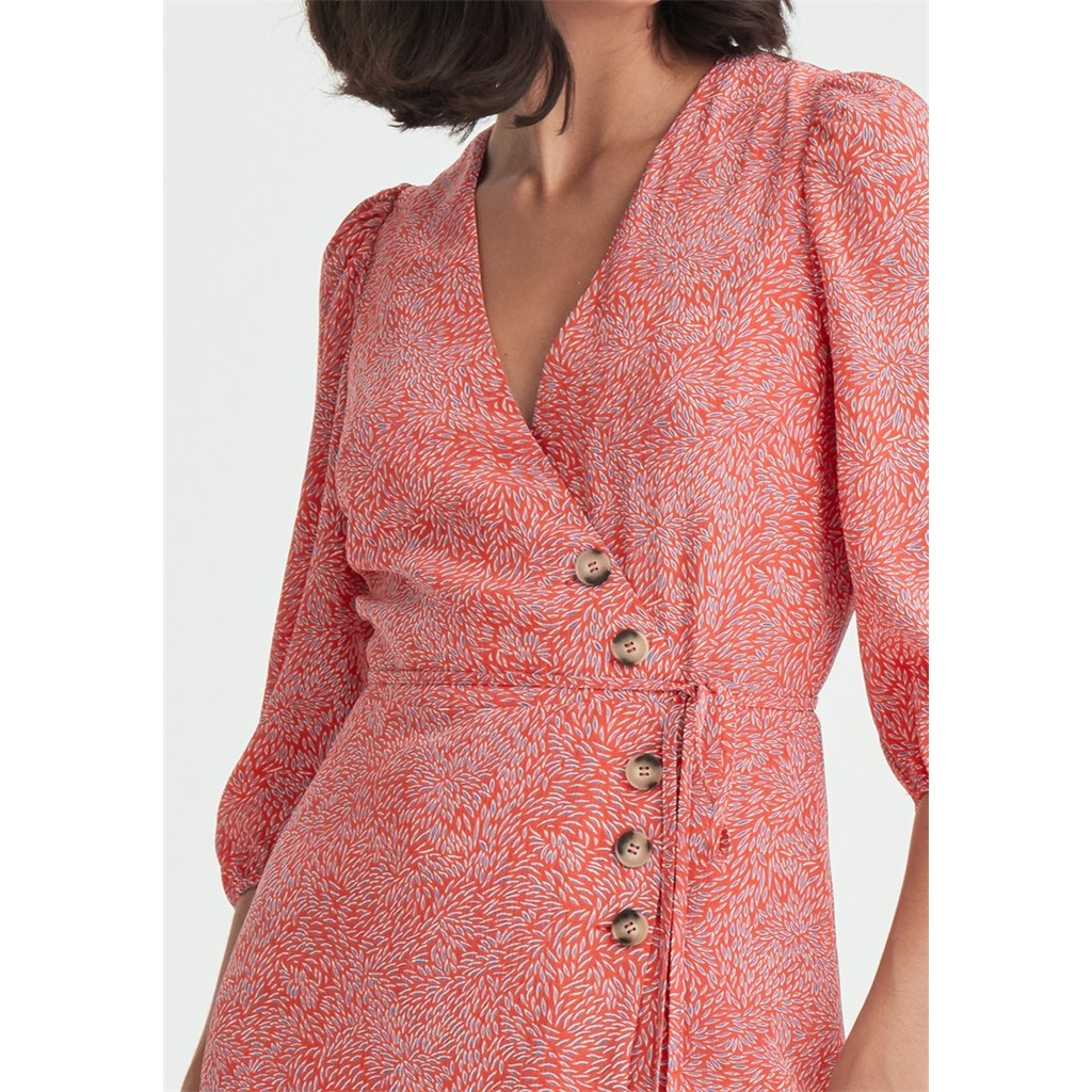 New Paisie Patterned Buttoned Wrap Dress - Red