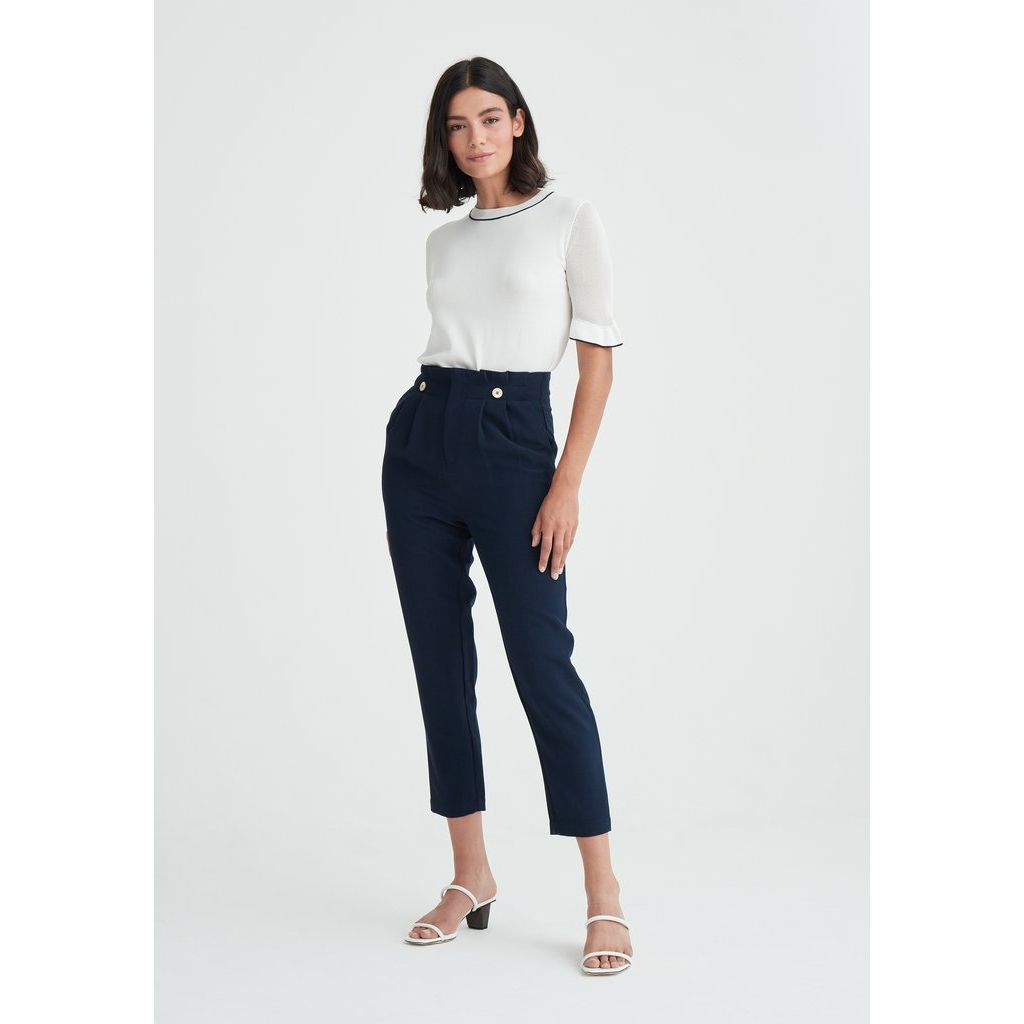 New Paisie Paperbag Trousers - Navy