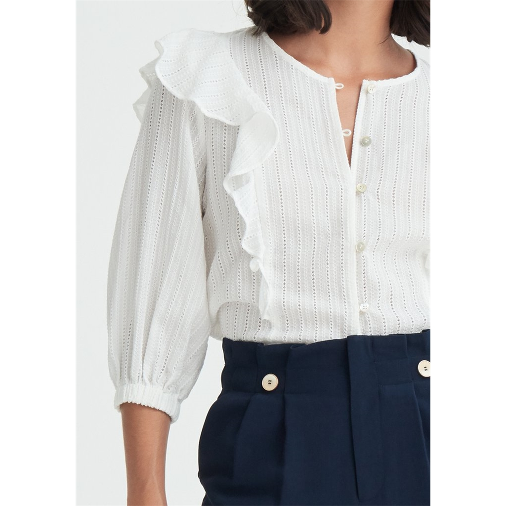 New Paisie Frilled Broderie Blouse - White