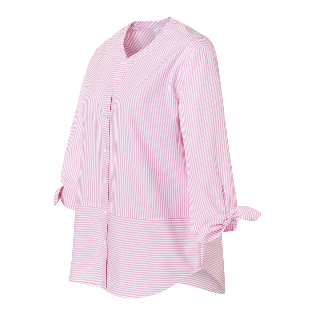 Just White Tie Sleeve Stripe Blouse - Pink