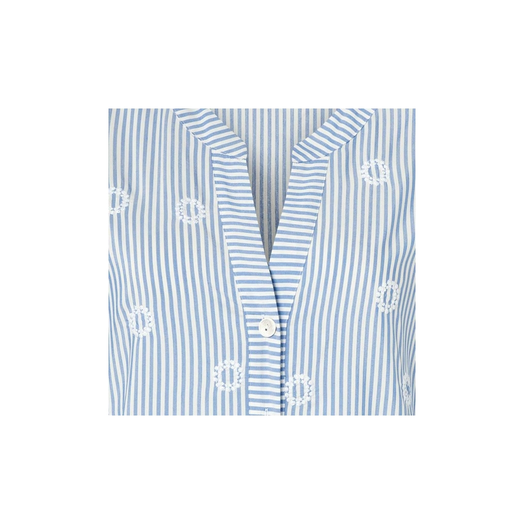 Just White Stripe Embroidered Blouse - Blue