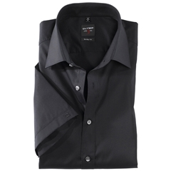 Olymp Level Five Body Fit Short Sleeve Shirt - Black