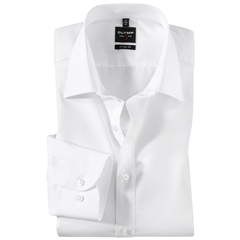 Olymp Level Five Body Fit Shirt - White with Extra Seam