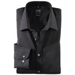 Olymp Level Five Body Fit Shirt - Black with Extra Seam