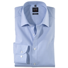 Olymp Level Five Body Fit Shirt - Blue Gingham Check