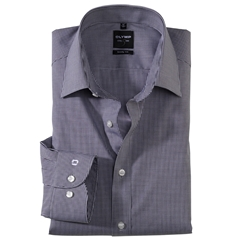 Olymp Level Five Body Fit Shirt - Black Gingham Check