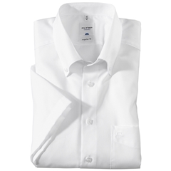 Olymp Regular Fit Short Sleeve Shirt - White with Button Down Collar