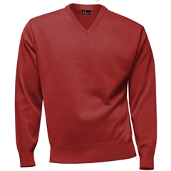 Franco Ponti 100% Lambswool Vee Neck Sweater - Poppy
