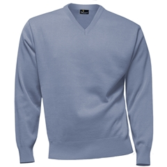 Franco Ponti 100% Lambswool Vee Neck Sweater - Sky