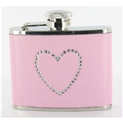 Pink Hip Flask 4oz (FL11)- Pink Flask With Heart Diamonte Detail