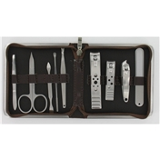 9 Piece Brown Mock Croc Travel Manicure Set For Men (MMS4)