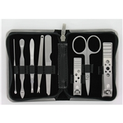 8 Piece Black Mock Croc Travel Manicure Set For Men (MMS7)